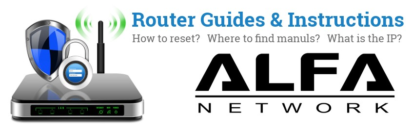 Image of a ALFA Network router with 'Router Reset Instructions'-text and the ALFA Network logo